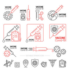 coronavirus vaccine sign and symbol for sticker vector image