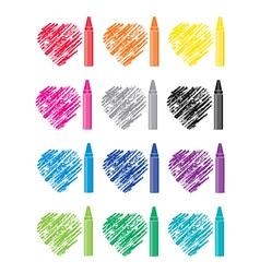 crayons and heart drawings vector image