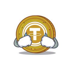 Crying tether coin mascot cartoon vector