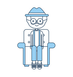 Cute grandfather in the sofa avatar character vector