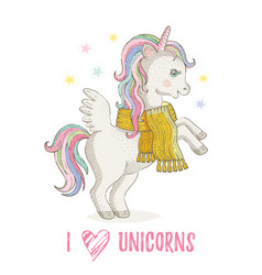 cute unicorn pony cartoon horse icon magic vector image