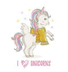Cute unicorn pony cartoon horse icon magic vector