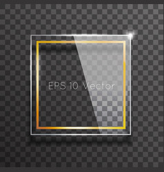 decorative glass frame glossy golden square mockup vector image