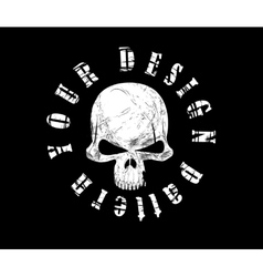 Design for t-shirt print with skull and textures vector image
