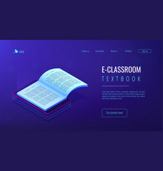 digital reading isometric 3d landing page vector image