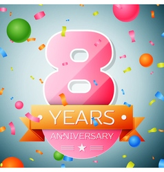 Eight years anniversary celebration background vector