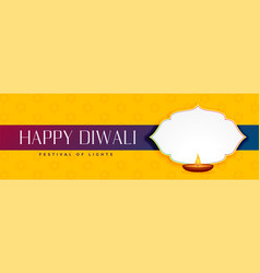 Elegant happy diwali yellow banner with text space vector