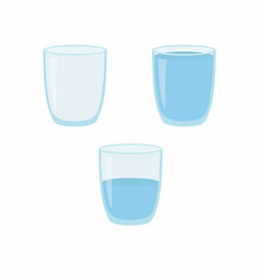 Empty half and full water glass vector