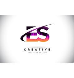 Es e s grunge letter logo with purple vibrant vector