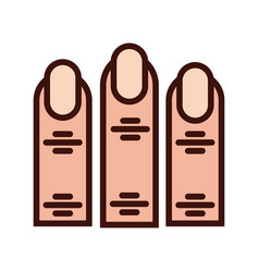 Fingers human sense line and fill style icon vector
