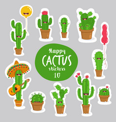 funny cactus stickers can vector image