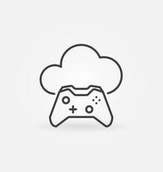 game controller with cloud outline icon vector image
