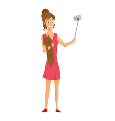 girl in a red dress with a soft toy makes a selfie vector image