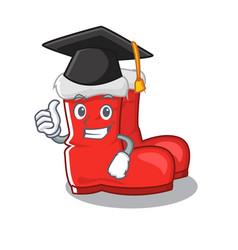 Graduation santa boots on cartoon shoe rack vector
