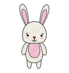Grated cute and happy rabbit wild animal vector