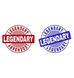 Grunge legendary scratched round watermarks vector