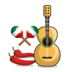 Guitar maraca and chili mexican symbol graphic vector
