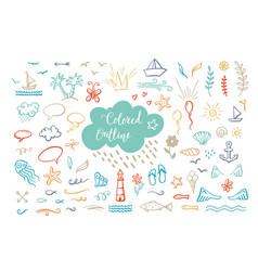 hand-drawn colored outline clipart on sea ocean vector image