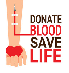 Hand of blood donor with heart for world blood vector