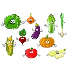 Happy appetizing cartoon isolated vegetables vector image