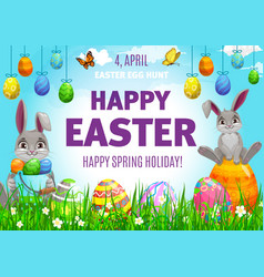 Happy easter poster with cute bunnies eggs vector