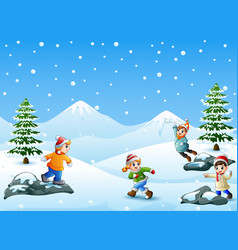 happy kids playing snowball vector image