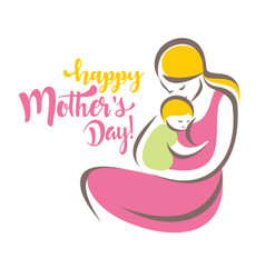 happy mothers day greeting card template stylized vector image
