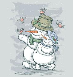 Happy snowmen vector