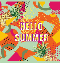 hello summer card background over abstract blot vector image