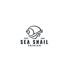 Hermit crab silhouette modern line logo design vector
