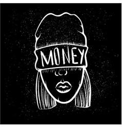 Hip hop music girl pretty young urban rap girl vector