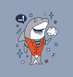 hipster shark cartoon t shirt design vector image