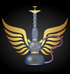 Hookah for smoking and wings vector