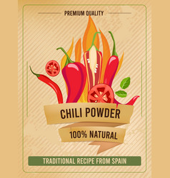 Hot pepper poster traditional mexican cuisine vector