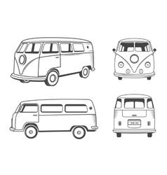 Icons hippie bus vector