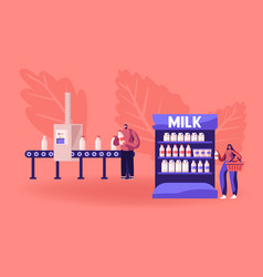 industrial automation process man take milk vector image
