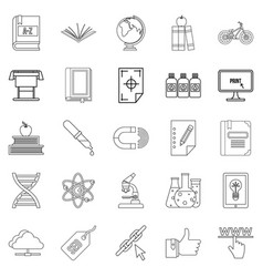 instruction icons set outline style vector image