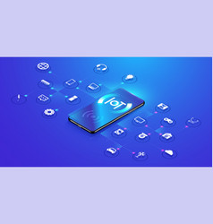 internet things on isometric design vector image
