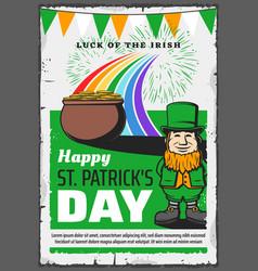 irish leprechaun st patrick day ireland holiday vector image