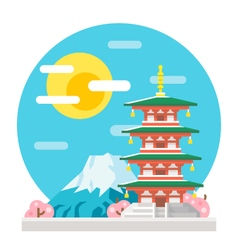 Japan pagoda flat design landmark vector