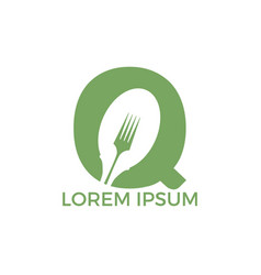 letter q food logo template vector image