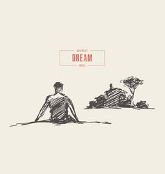man dream home future mortgage sketch drawn vector image