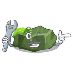 Mechanic green rock moss isolated on cartoon vector