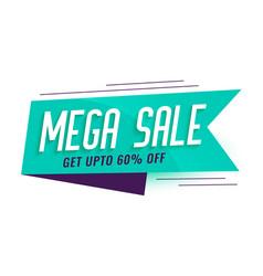 Mega sale ribbon style banner design vector