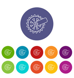 Mining cutting wheel icons set color vector