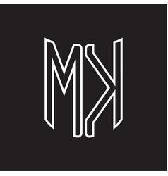 mk logo monogram with ribbon style outline design vector image