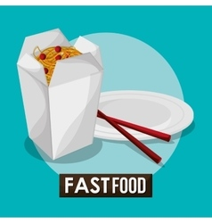 noodle box and fast food design vector image