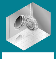 Open bank vault door isometric vector