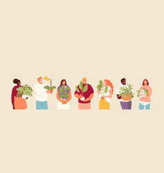 People with flowers vector