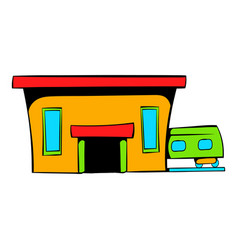 railway station icon icon cartoon vector image